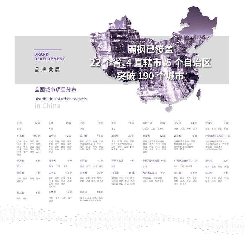 麗枫酒店在全国城市的分布